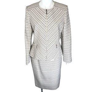 JM Collection Tweed Blush Pink Skirt Suit size 8